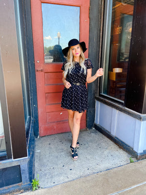 Lindsey Black Polka Dot Dress