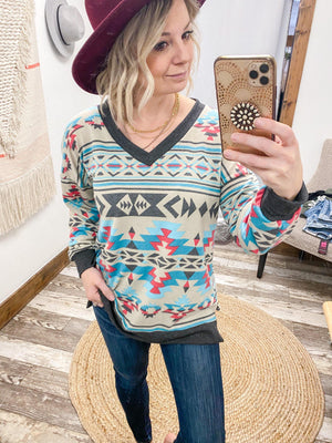 Aztec Teal Tunic - Trendsetters Fashion Boutique