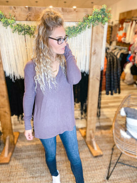 Rexly V-neck Sweater with Ribbed Trim
