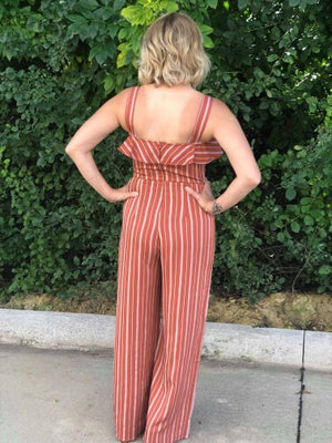 Lucia Striped Jumpsuit with Ruffle Detail
