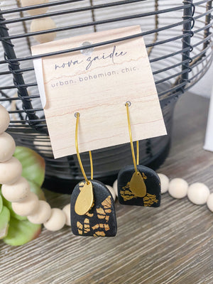 Black Dangle Arches Earrings