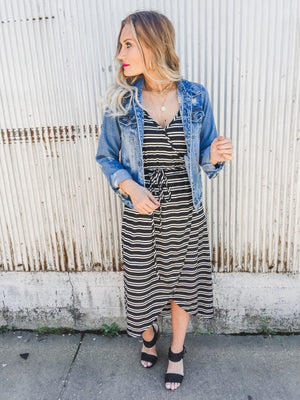 Mia Striped Wrap Midi Dress