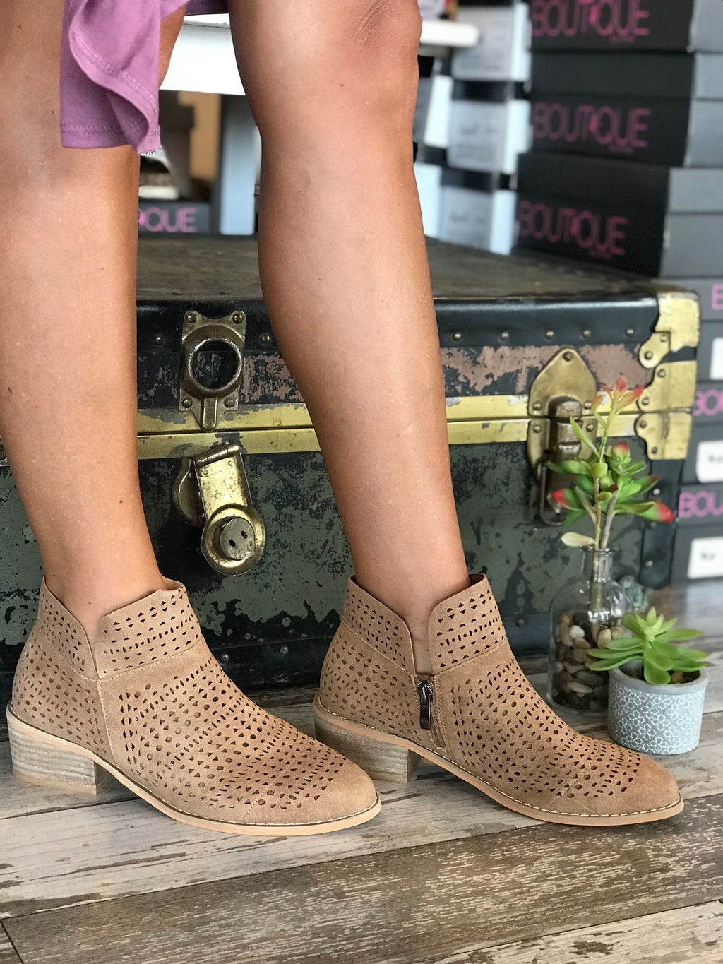 Brier Taupe Laser Cut Booties