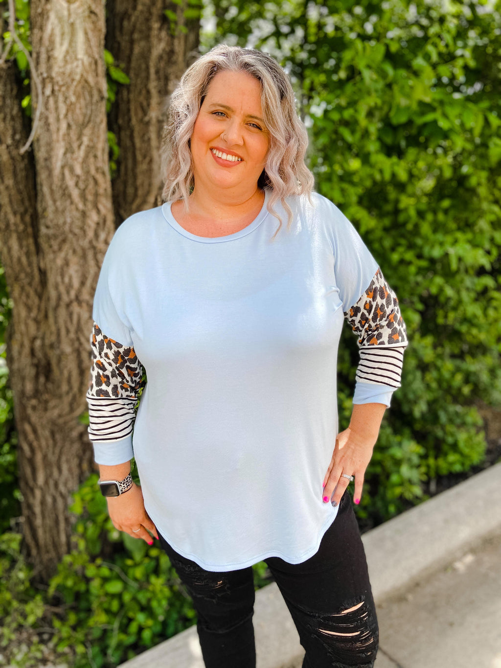 Curvy Blue Mixed Print Raglan