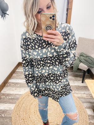 Leopard Colorblock Long Sleeve - Trendsetters Fashion Boutique
