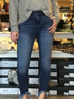 Valentina Mid Rise Skinny Jeans with Fray Bottoms