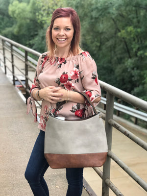 Two Tone Over The Shoulder Purse