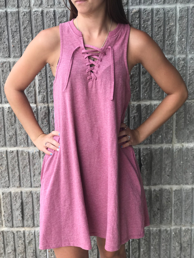 Mauve Tank dress with tie front