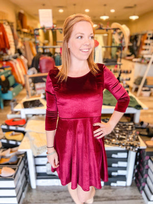 Adeline Velvet Holiday Swing Dress