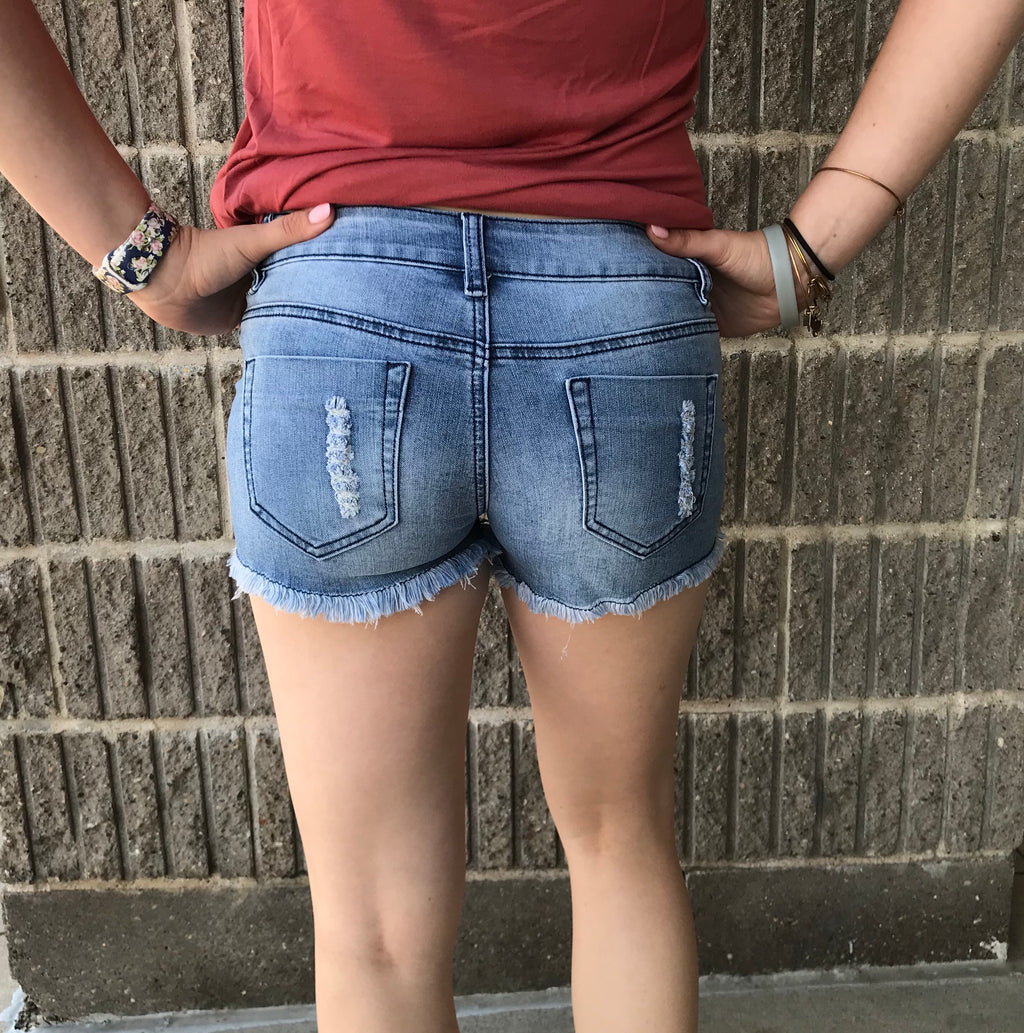 Fringe Hem Lace denim Shorts