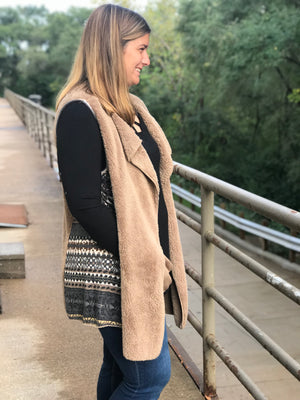 Taupe Faux Fur Waterfall Vest