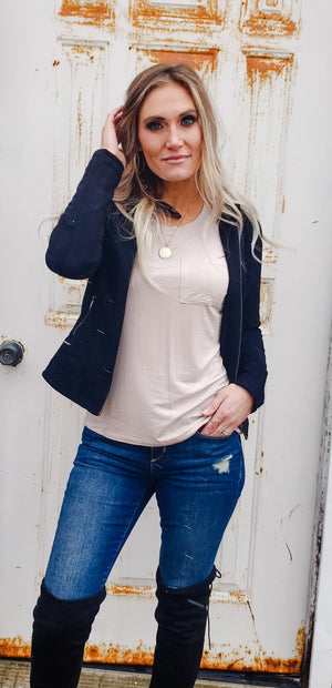 Amelie Suede Like Moto Jacket