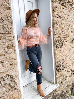 Marsha Blush Lace Crop Top