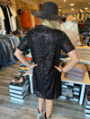 Frey Black Sequin Short Sleeve Dress