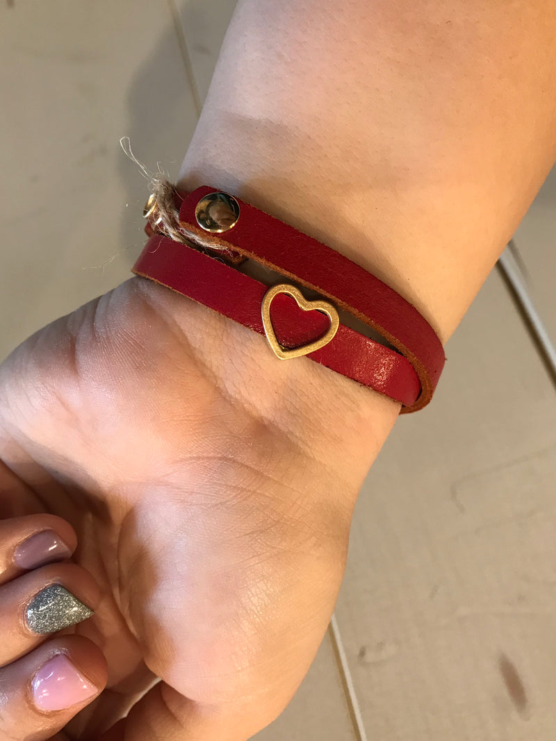 Love Never Fails Red Leather Bracelet