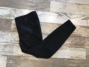 Black Distressed Skinny Jeans-Curvy