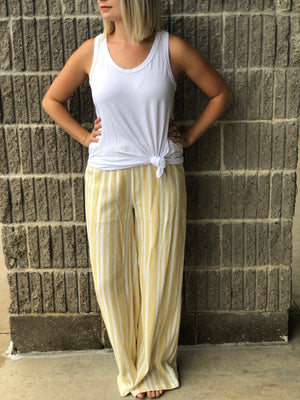 Run out of Steam Mustard Palazzo Pants