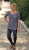 Carrie Navy Striped Top
