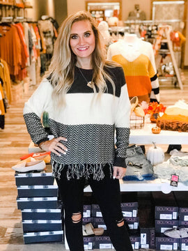 Taylor Colorblock Knit Sweater with Fringe