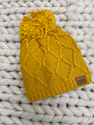 Cable Beanie with Yarn Pom