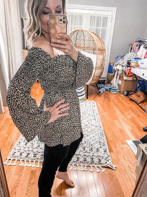 Leopard Smocked Off Shoulder