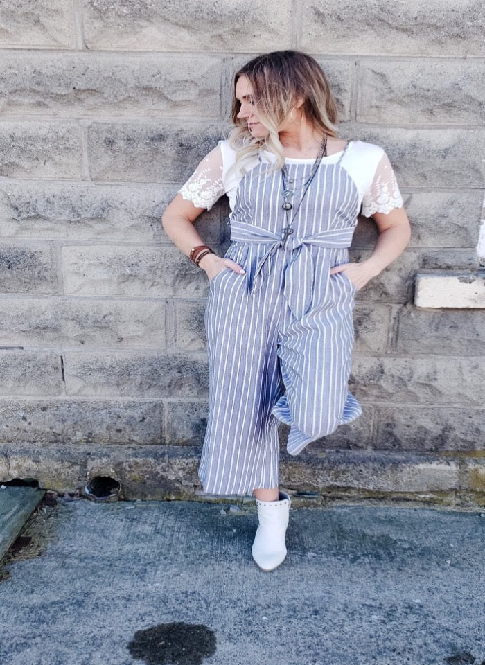 Emberly Striped Jumpsuit with Tie