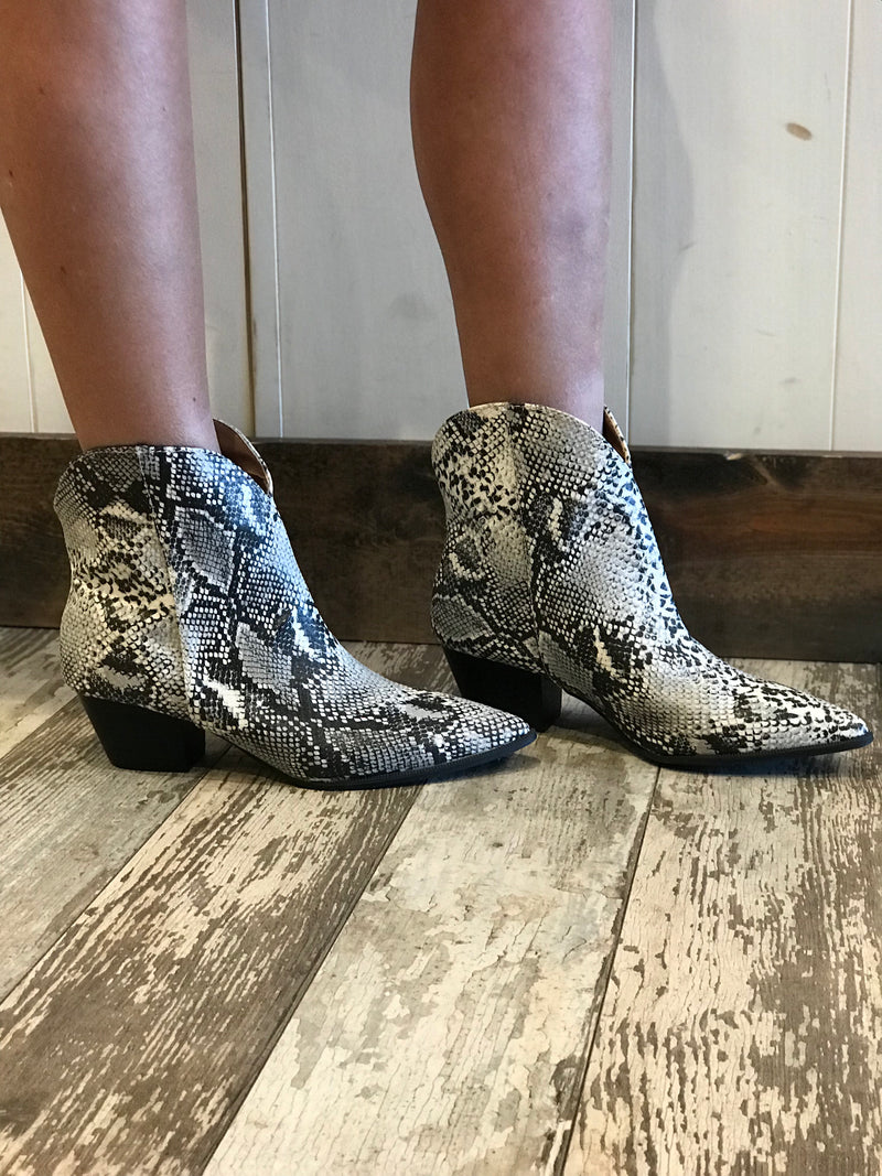 Mystique Snake Skin Booties