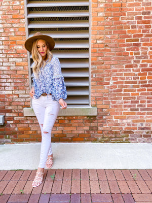 Veronica Paisley Boho Blue Top