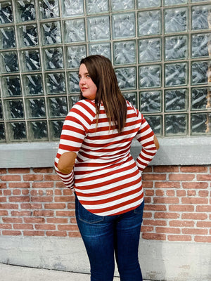 Veronica Striped Boatneck Top with Elbow Patches