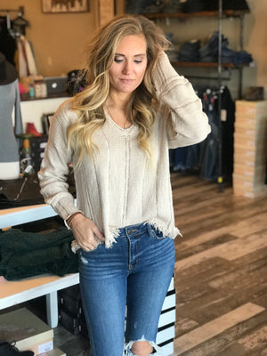 Oaklyn Distressed V-Neck Sweater