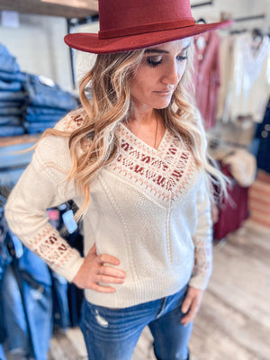 Alice Ivory V-Neck Sweater with Pattern Trim