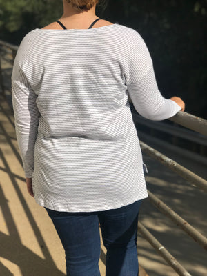 Curvy Londyn Grey Striped Long Sleeve