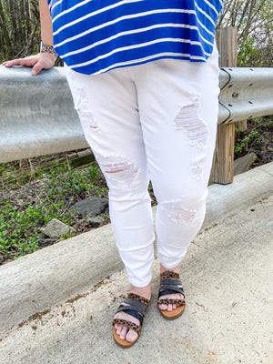 Nala Curvy White Distressed Skinny Jeans
