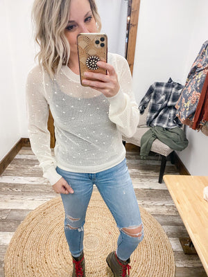 Swiss Dot Crop Sweater - Trendsetters Fashion Boutique