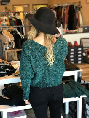 Nia Slouchy and Cropped Chenille Sweater