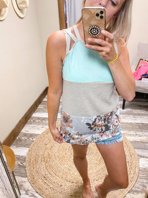 Lena Colorblock Floral Tank Top