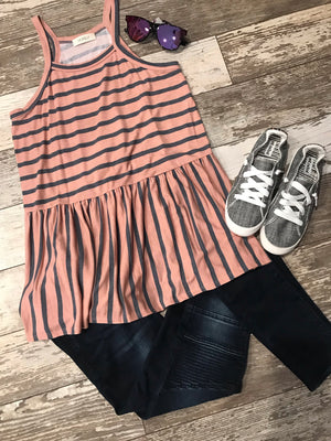 Raleigh Striped Peplum Tank