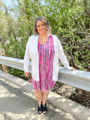 Curvy Fuchsia Striped Dress