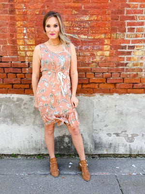 Apricot Paisley Printed Dress