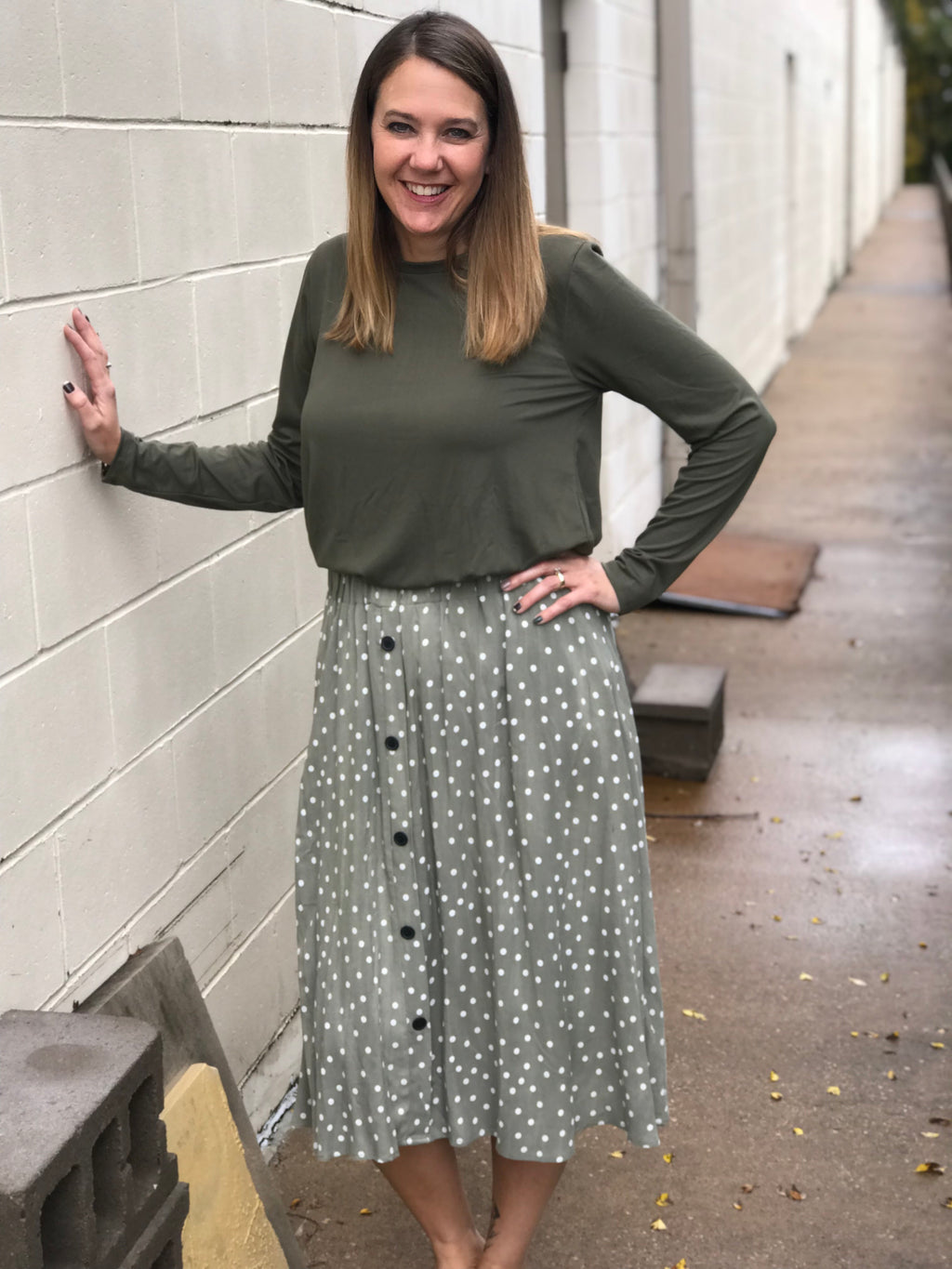 Sky Olive Polka Dot Skirt