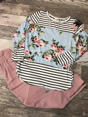 Leah Floral Striped Top
