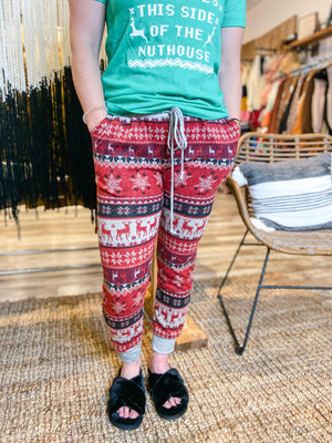 Fleece Holiday Joggers - Trendsetters Fashion Boutique