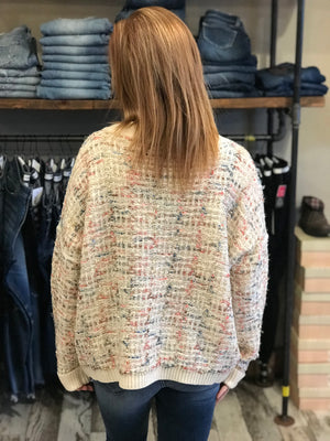 Charli Cream Multi Design and Fabric Sweater