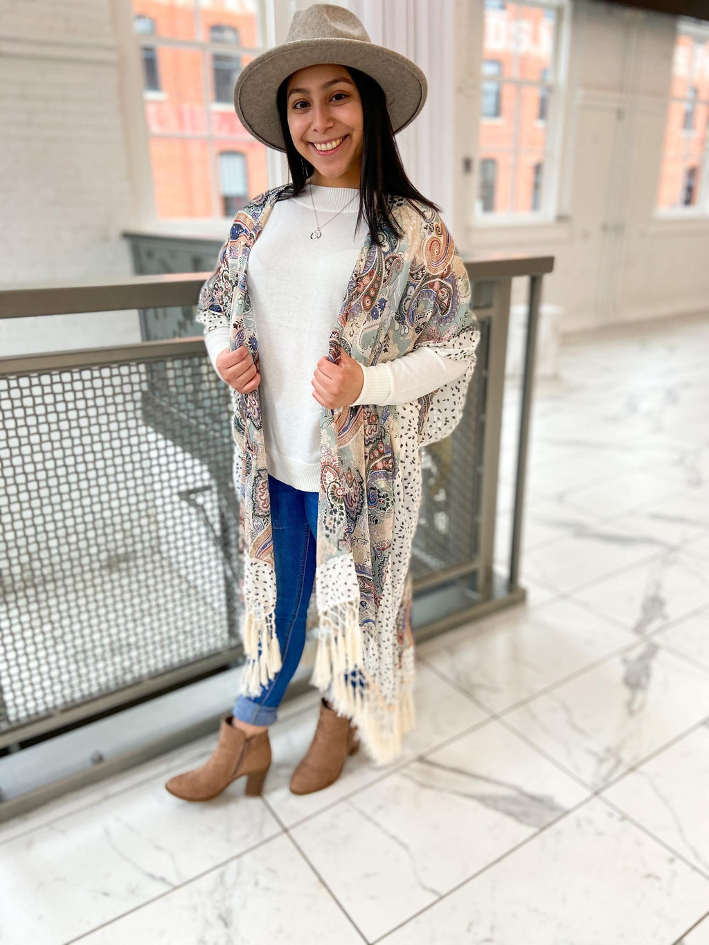 Paisley Print Floral Kimono with Fringe - Trendsetters Fashion Boutique
