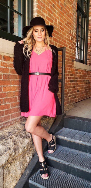 Adalee Hot Pink Criss Cross Dress