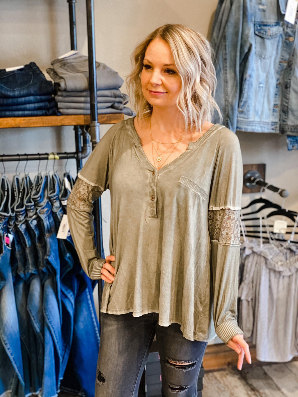 Alena Olive Pin Tucked Top with Lace Sleeve Paneling
