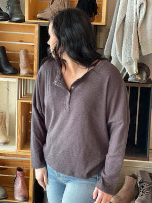 Stella Brushed Ribbed Henley - Trendsetters Fashion Boutique