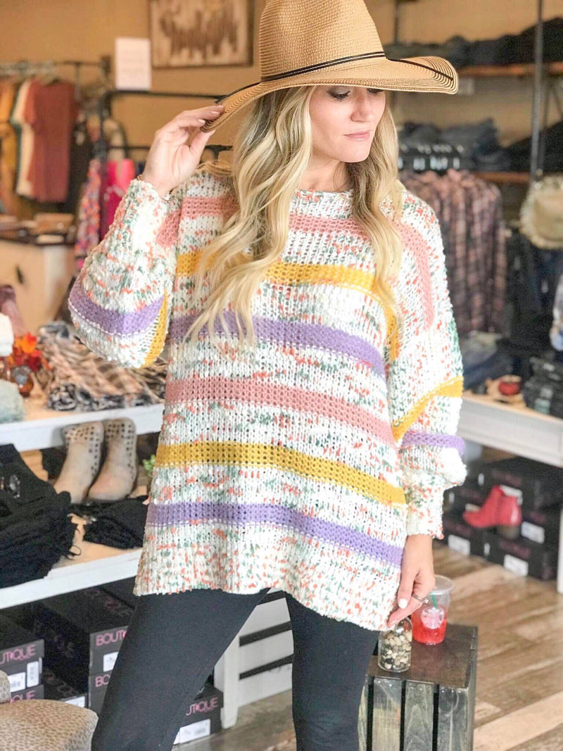 Madison Confetti Sweater with lavender Stripes