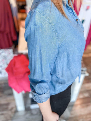 Alyssa Chambray Cropped Button Down