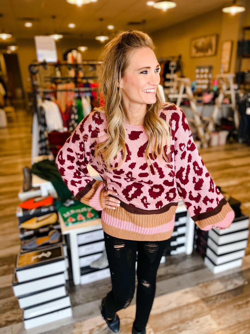 Azalea Leopard Dusty Pink Sweater